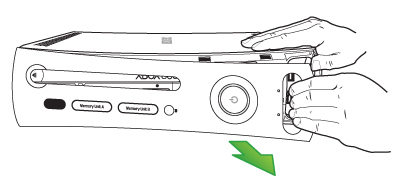 One hand pries the faceplate away from the Original Xbox 360 console as the other hand braces against the console body.