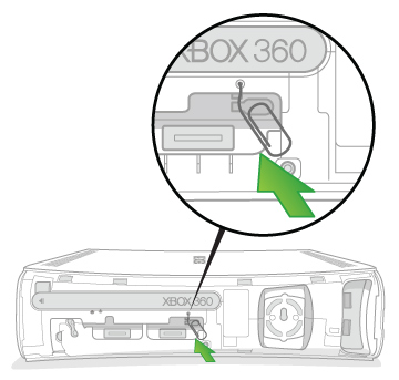 An arrow emphasises the location on the back of an Original Xbox 360 as the end of a paper clip is inserted into the eject hole near the centre.