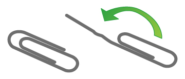 Two paper clips, with the outside end of one of them bent away to make a long straight arm.