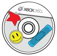 Unas etiquetas y una banda adhesiva están adheridas a la parte superior del disco compacto Xbox.