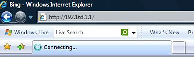 The URL bar in Internet Explorer contains a sample default IP address for a router.