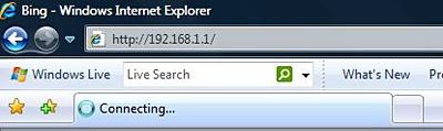 Internet Explorerin URL-osoiterivillä on esimerkkinä reitittimen oletusarvoinen IP-osoite.