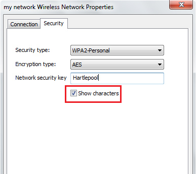 A screenshot shows the Wireless Network Properties dialog box, with the Security tab open and the check box selected for 'Show characters'.
