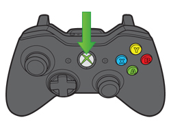Arrow points to the Guide button on your controller.