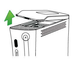 An illustration showing how to detach the hard drive from an original Xbox 360 console.