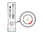 One light flashing red around the power button of an original Xbox 360 console.