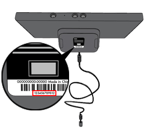 An illustration shows the location of the serial number on the bottom of the Xbox 360 Kinect sensor.
