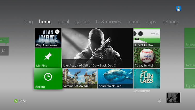 A sample Xbox home screen shows the Recent tile highlighted.