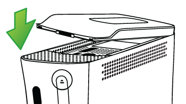 An illustration shows how to attach the hard drive on an original Xbox 360 console.