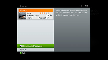 The Remember Password option is selected on the Xbox 360 Sign In screen.