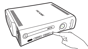 An index finger presses the connect button near the center of the front of an Original Xbox 360 console.