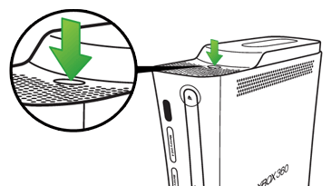 An arrow points to the hard drive release button on an original Xbox 360 console.
