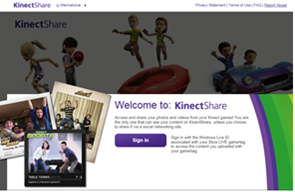 Screen shot of Welcome to Kinect Share website