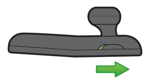 An arrow showing which direction to move the mode switch on the wireless headset.