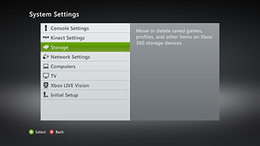 The System Settings screen, with the Storage category highlighted