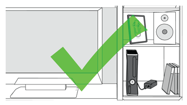 An illustration shows an example of a good Xbox console-and-TV setup in a cabinet. The console has air space around it.