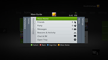 The Xbox Guide menu