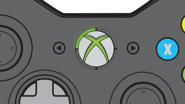 A controller close-up shows the Guide button, with the upper-left quadrant illuminated.