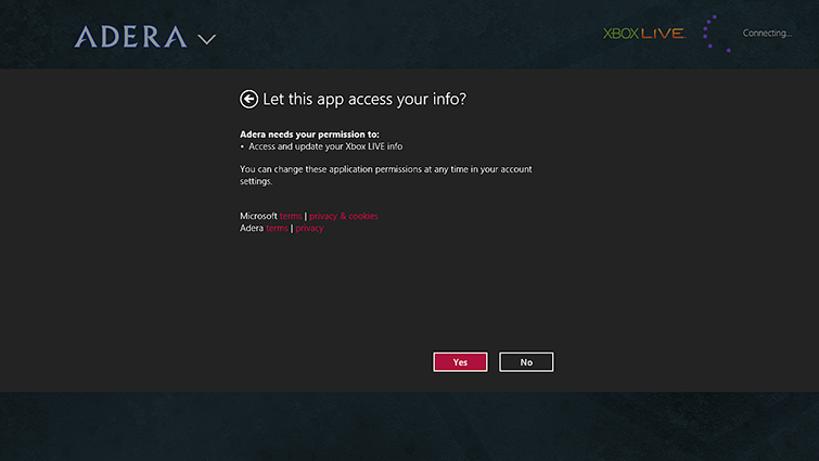 A picture of the Windows screen that prompts you to confirm or deny access by a game or app to your Xbox Live information