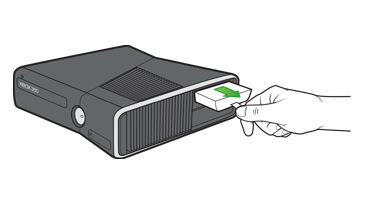 A hand inserts a hard drive into the hard drive slot on an Xbox 360 E console.