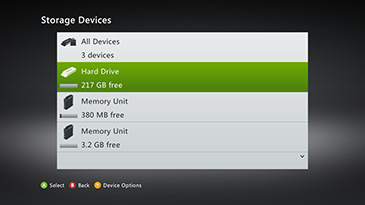 The Storage Devices screen is displayed with 'Hard Drive' selected.