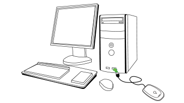 An illustration of the Xbox 360 Wireless Gaming Receiver's USB connector being plugged into a computer's front USB port.