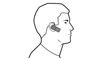 An illustration of a person wearing the Xbox 360 Wireless Headset with Bluetooth.