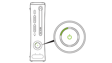 The upper-left section adjacent to the power button of an Original Xbox 360 console is illuminated.