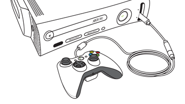A cable connects a wired controller to the front of an Original Xbox 360 console.