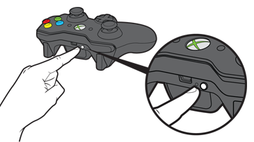 A finger reaches for the connect button on the front of an Xbox 360 controller.