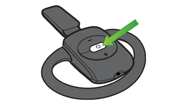 An arrow points to the power button on the Xbox 360 Wireless Headset.