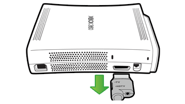 An illustration shows the A/V cable being unplugged from the A/V port on the back of an original Xbox 360 console.