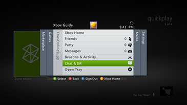 A screen shows the Xbox Guide with the 'Chat and IM' option highlighted.