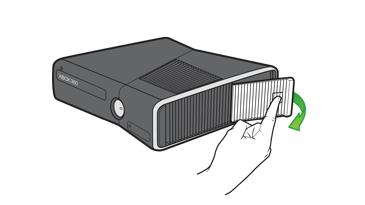 An illustration of a hand opening the hard drive cover on an Xbox 360 S console
