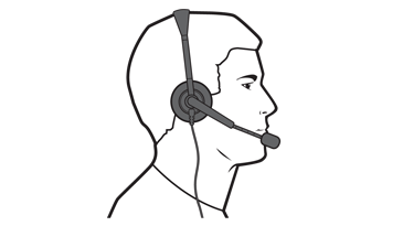 A drawing of a man using an Xbox 360 Wired Headset