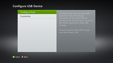The 'Configure USB Device' screen has options for 'Customize' and 'Configure Now', which is highlighted.