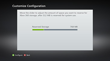 A sample 'Customize Configuration' screen, with the slider showing 768 MB of storage set aside for Xbox use