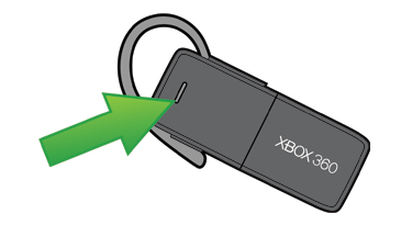 A drawing of the Xbox 360 Wireless Bluetooth Headset with the Action button emphasised