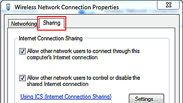 The Sharing tab of the Wireless Network Connection's Properties