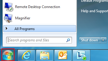 Windows 7 'Search programs and files' box