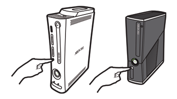 An illustration shows a finger reaching to press the small connect button on the Original Xbox 360 console and on the Xbox 360 E console. With the consoles positioned vertically, the connect button is near the left edge just below center on the Original Xbox 360. On the Xbox 360 E console, it is on the left nearer the bottom.