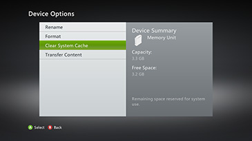 The Device Options screen is displayed, with 'Clear System Cache' selected.