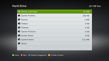 A screen shows the size of various categories of content on an Xbox 360 Hard Drive, with the 'Game and Apps' category highlighted.