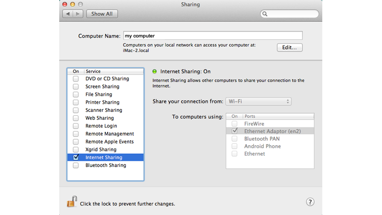 The 'Internet Sharing' check box is selected on the Sharing screen in Mac OS X.