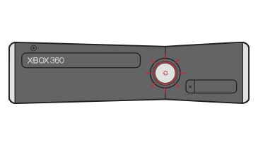 The center light on an Xbox 360 S console is shown blinking red.