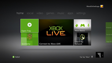 Xbox Dashboard home screen