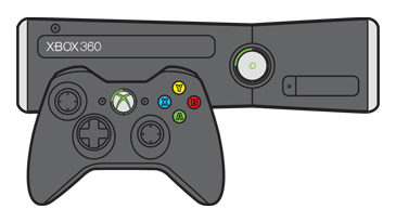The upper-left quadrant is lighted around the power button on an Xbox 360 S console and around the Guide button on a controller.