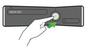 A pointing finger and an arrow indicate the power button on the Xbox 360 S console.