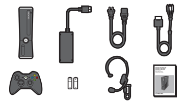 An illustration shows the items that come in the Xbox 360 console package.