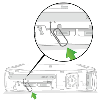 An arrow emphasizes the location on the back of an Original Xbox 360 as the end of a paper clip is inserted into the eject hole near the right side.
